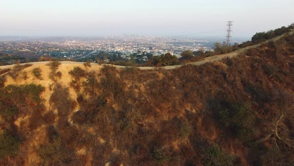 Wide shot of Los Angeles over Hollywood Hills CA, USA Royalty-free stock video