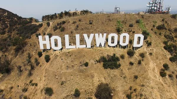 Wide shot of Hollywood Hills and sign CA, USA Royalty-free stock video