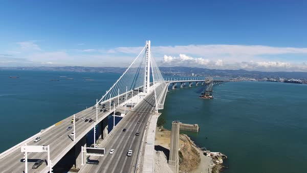 Wide shot of Bay Bridge over San Francisco bay CA, USA Royalty-free stock video