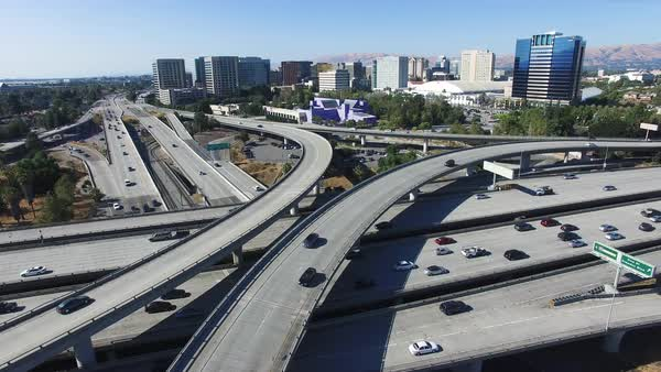 Wide shot of large highway interchange in San Jose CA, USA Royalty-free stock video