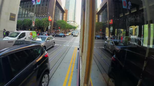 Hyperlapse of a cable car driving in San Francisco Royalty-free stock video