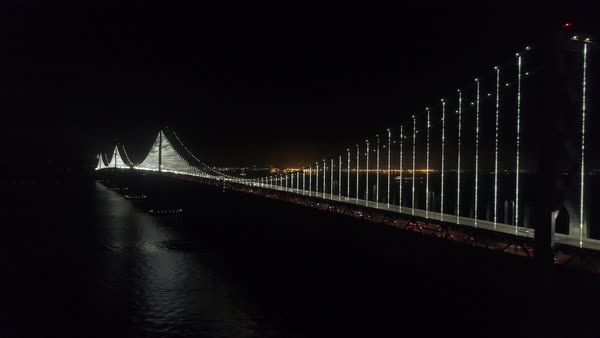 Aerial shot of traffic on San Francisco-Oakland Bay Bridge at night Royalty-free stock video