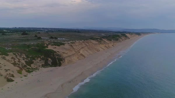 Aerial shot of a sandy beach in California Royalty-free stock video