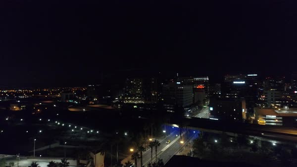 Aerial shot of downtown San Jose at night Royalty-free stock video