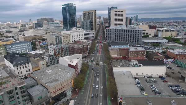 Aerial shot of flying above Market Street in San Francisco Royalty-free stock video