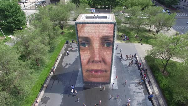 Drone shot of Crown Fountain video sculpture in Chicago Royalty-free stock video