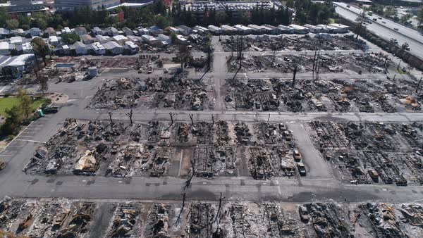 Burnt remains of houses and trees after the Tubbs Fire at Santa Rosa, California Royalty-free stock video