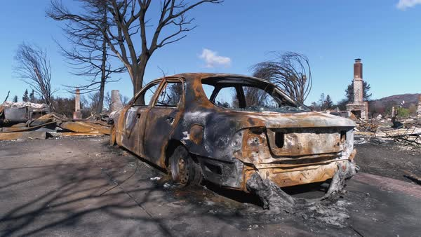 Burnt remains of a car after the Tubbs Fire at Santa Rosa, California Royalty-free stock video