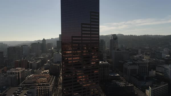 Aerial shot of U.S. Bancorp Tower with Portland cityscape, Oregon Royalty-free stock video