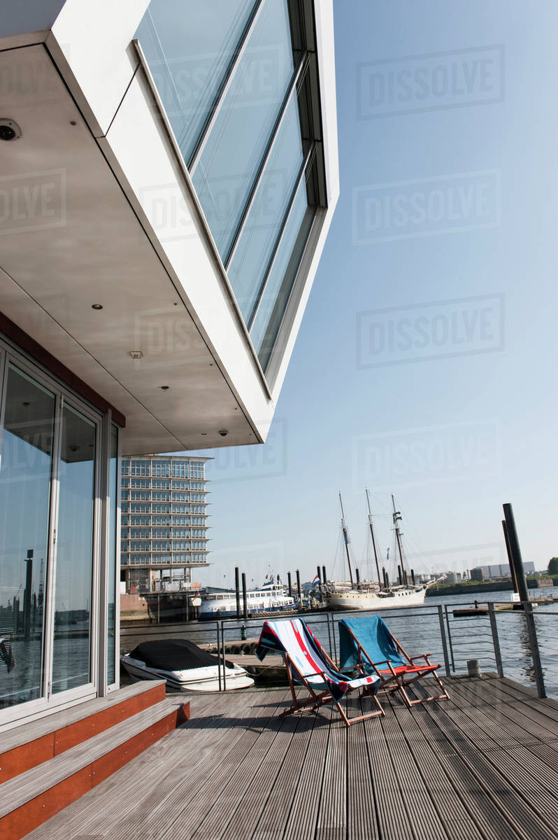 Germany Hamburg Empty Deck Chairs On Floating Home
