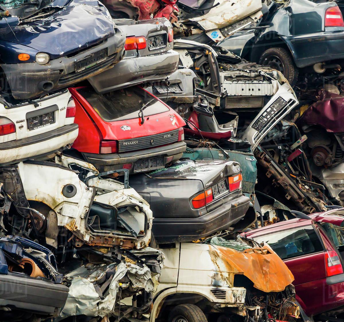 Scrap yard, scrap cars - Stock Photo - Dissolve