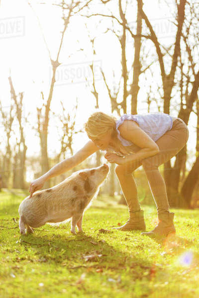 Woman taming piglet in park Rights-managed stock photo