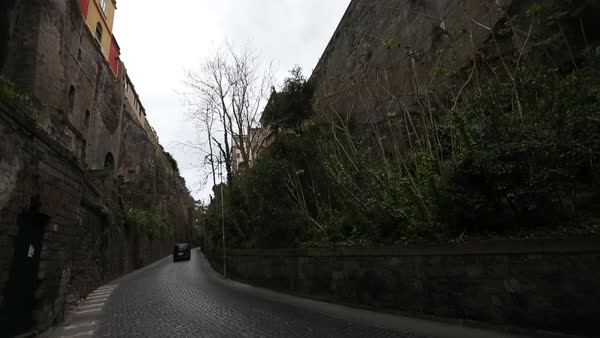 Wide shot of traffic on a road in Sorrento, Italy Royalty-free stock video