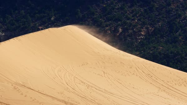 Sand blowing off the top of a dune at Coral Pink Sand Dunes Royalty-free stock video