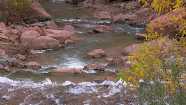 Zoomed view of river flowing downstream through red rocks in Zion National Park. Royalty-free stock video