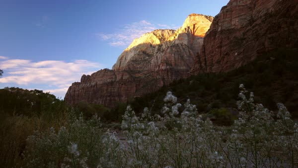 View of cliff tops lighting up in Zion National Park Royalty-free stock video
