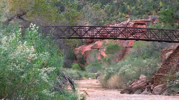 Static view of bridge over river in Zion National Park Royalty-free stock video
