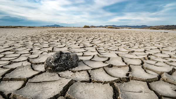 Timelapse moving over cracks in a dry muddy landscape in the Great Salt Lake desert. Royalty-free stock video