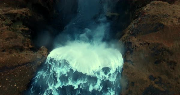 Aerial shot of a waterfall in Iceland Royalty-free stock video