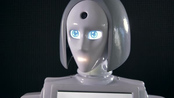 A white female robotic head with LED indicators for eyes and mouth. Royalty-free stock video