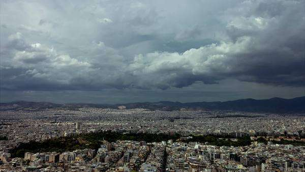 Athens skyline establishing shot overview with clouds timelapse Royalty-free stock video