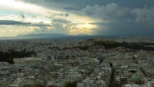 Skyline timelapse of Athens with Acropolis in the background at sunset. Royalty-free stock video