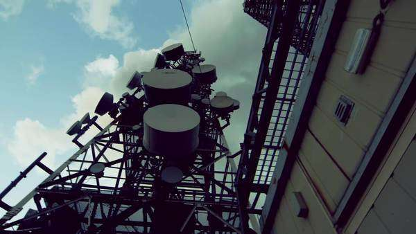 Communication cell and broadcast towers and antennas on top of a mountain site. Royalty-free stock video