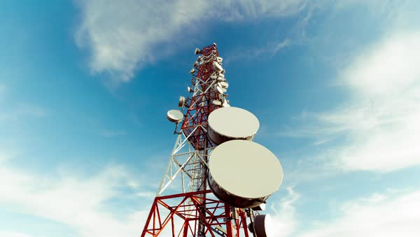 Low angle vertical view of communication towers. Royalty-free stock video