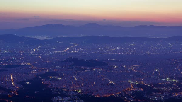Athens skyline dusk to night timelapse, establishing shot,on a very clear summer day. Royalty-free stock video