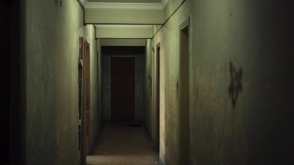 Old Apartment Building Interior With Long And Creepy Dark Hallway