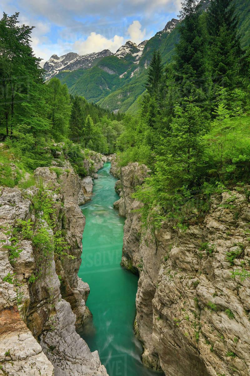 Soca River Flowing Through A Narrow Canyon In Bovec Slovenia