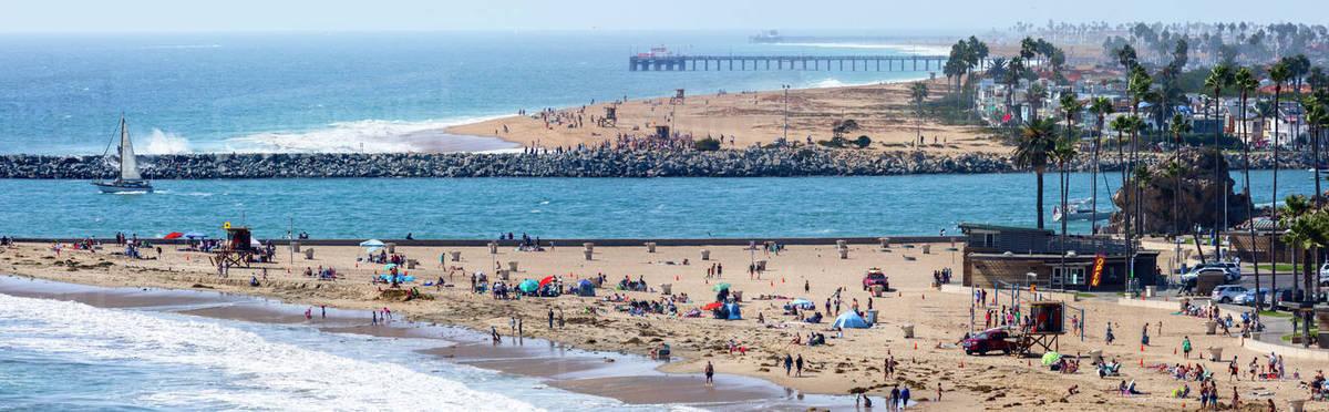 Panorama Of Beach With Visitors Corona Del Mar Newport Orange County California Usa