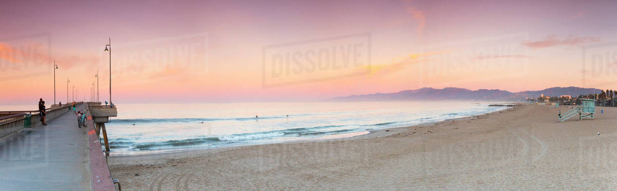 Panorama Of Venice Beach With Pier At Sunrise Los Angeles California Usa