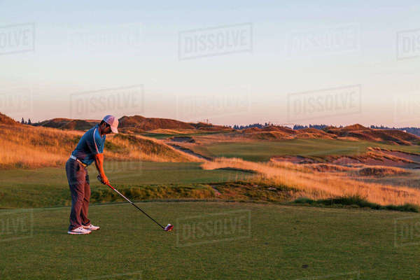 Chambers Bay golf course, site of the 2015 US Open, near Tacoma, WA on a sunny evening. Royalty-free stock photo