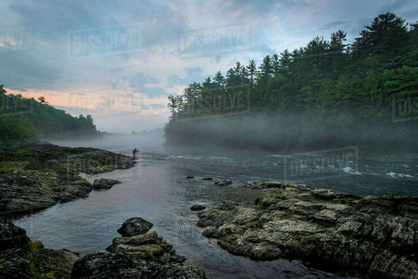 Fly Fisherman Fishing At Kennebec River, Maine Royalty-free stock photo