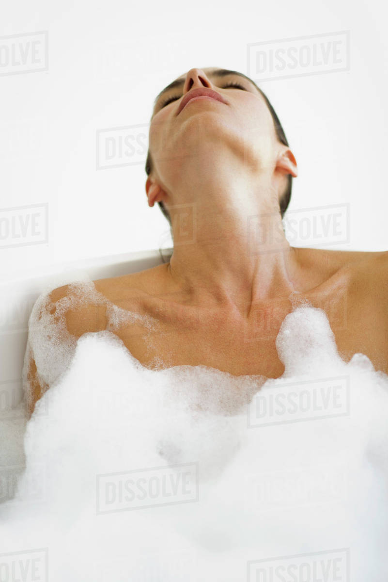 Woman relaxing in bubble bath Royalty-free stock photo