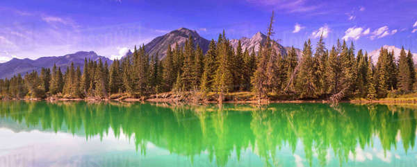Panoramic shot of Bow River and the Norquay mountain range in Banff, Alberta, Canada. Royalty-free stock photo