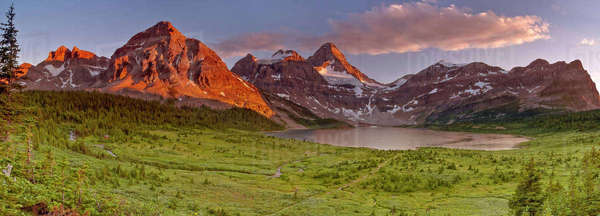 Panoramic landscape of Mount Assiniboine and Lake Magog in BC, Canada. Royalty-free stock photo