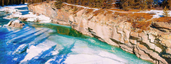 High angle panorama of rocky cliffs on the Saskatchewan River at Saskatchewan Crossing Banff National Park. Royalty-free stock photo