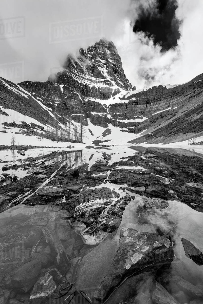 Black and white portrait of mt temple in temple lake banff national park