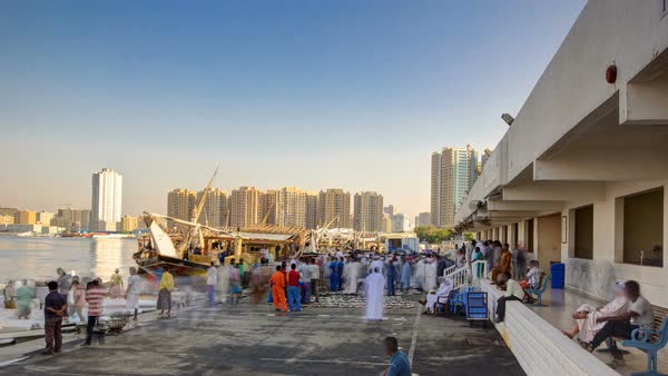 Fish market in the emirate of Ajman timelapse with people selling fish and ship in the background. United Arab Emirates Royalty-free stock video
