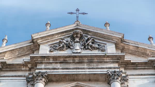 Top of the baroque Church of Saint Ignatius of Loyola at Campus Martius timelapse hyperlapse in Rome, Italy Royalty-free stock video