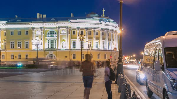 Building of the Russian constitutional court timelapse near Monument to Peter I, building of library of a name of Boris Yeltsin, night illumination and traffic. Russia, Saint-Petersburg Royalty-free stock video
