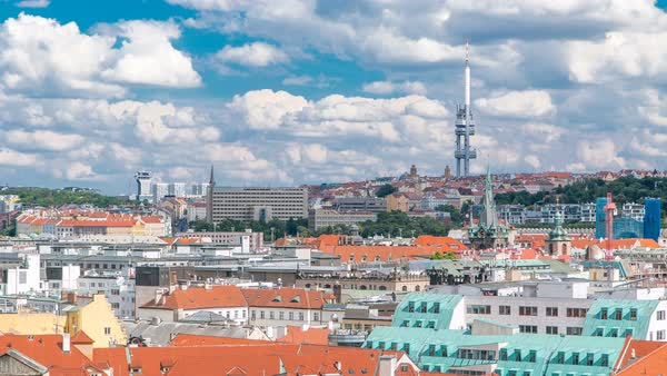 Panoramic view on Prague lamdmark with Zizkov Television Tower timelapse. Top view from Old Town Hall tower Royalty-free stock video