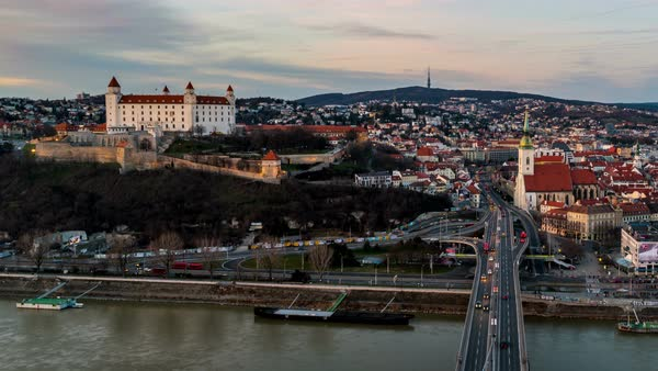 Aerial view of Bratislava, Slovakia at sunset Royalty-free stock video