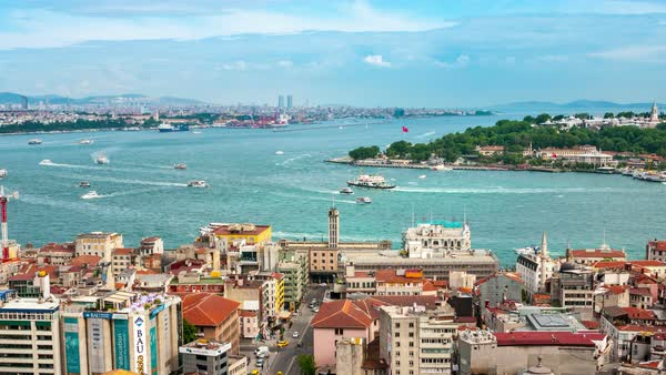 Panning hyperlapse. Aerial view of Istanbul, Turkey harbor with ships going down the river Bosphorus. Historical part of the city during the day Royalty-free stock video