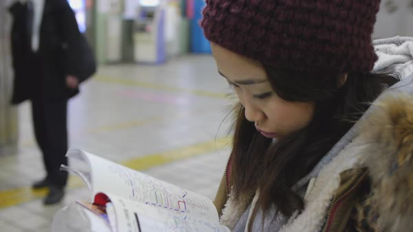 Hand-held shot of a woman reading a public transportation map Royalty-free stock video