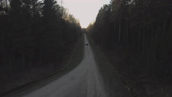 Aerial shot of car driving on road through forest Royalty-free stock video