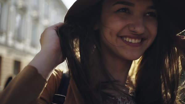 Portrait of young woman in the brown hat Royalty-free stock video