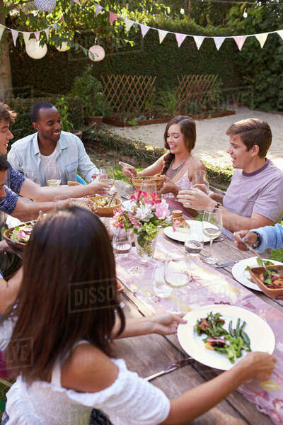 Friends Eating And Drinking Around Table At Outdoor Party Royalty-free stock photo